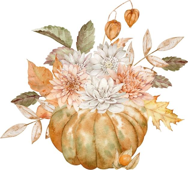 Akwarela jesień pomarańczowa dynia ozdobiona astrami, daliami, jesiennymi liśćmi i pęcherzycą na białym tle. jesienna aranżacja.