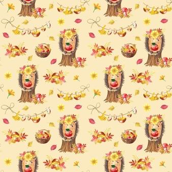 Akwarela jesień wzór. ładny akwarela kreskówka jeż na beżowym tle. ilustracja lasu dla dzieci. kosz grzybów, jabłek, gruszek, liści mieszanych. wydrukuj dla dziecka.