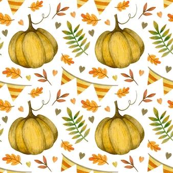 Akwarela jesień wzór na święto dziękczynienia halloween cześć październik dzień dyni