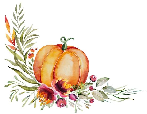 Akwarela jesienna kompozycja wykonana z dyni, jagód, kolorowych kwiatów i liści na białym tle