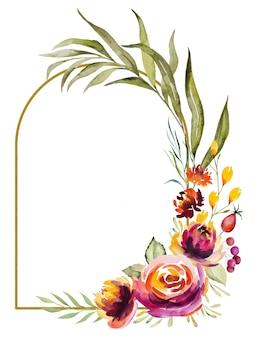 Akwarela jesienna ramka wykonana z czerwonych, pomarańczowych, zielonych i żółtych kwiatów i liści na białym tle