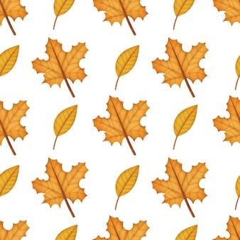 Akwarela jesienne liście bezszwowe wzory