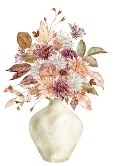 Akwarela jesienny bukiet w ceramicznym wazonie z jesiennych liści i kwiatów na białym tle. czeska karta kwiatowy.