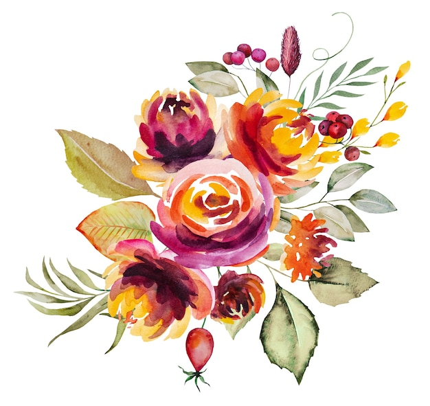 Akwarela jesienny bukiet wykonany z czerwonych, pomarańczowych, zielonych i żółtych kwiatów i liści na białym tle