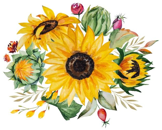 Akwarela jesienny bukiet wykonany z żółtych słoneczników i liści na białym tle