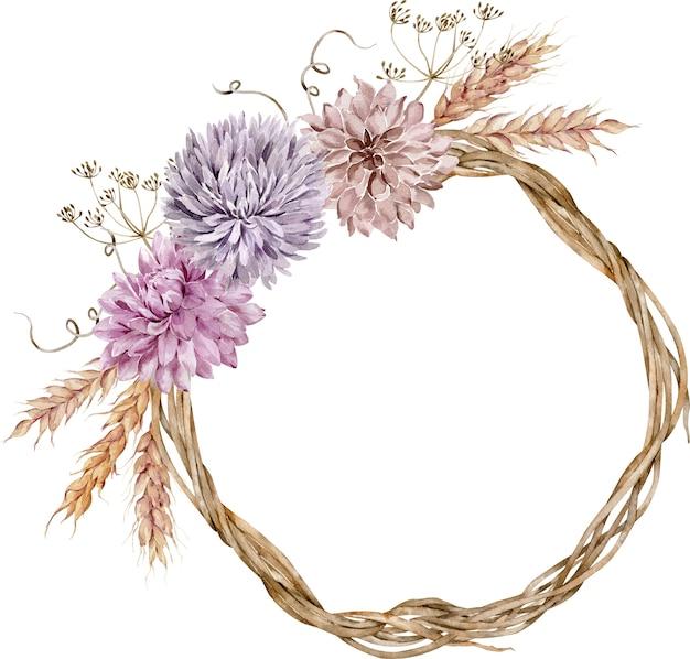 Akwarela jesienny wianek ozdobiony kwiatami asteru i dalii, kłosami pszenicy, kwiatami kopru. ilustracja dziękczynienia.