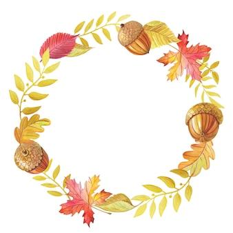 Akwarela jesienny wieniec z liści spadnie na biały. jasna akwarela