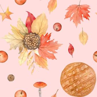 Akwarela jesienny wzór z ręcznie malowanymi przytulnymi symbolami jesieni