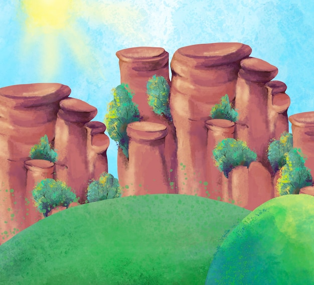 Akwarela kanion, letni krajobraz gór,