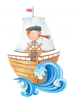 Akwarela kapitan przy kierownicą na drewnianym statku