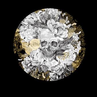 Akwarela karta z czaszkami i różnymi kwiatami