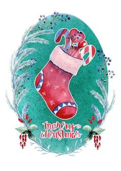 Akwarela kartka noworoczna z czerwoną skarpetą z