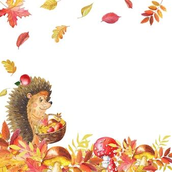 Akwarela kartkę z życzeniami z ładny jeż i grzyby, liście. jesienne liście. akwarela ilustracja.