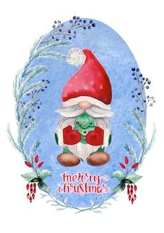 Akwarela kartki świąteczne z gnomem