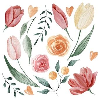Akwarela kolekcja z wielkanocnymi tulipanami.