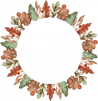 Akwarela kolorowy wieniec z liści jesienią na białym tle