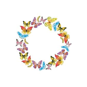 Akwarela kolorowy wieniec z motylami