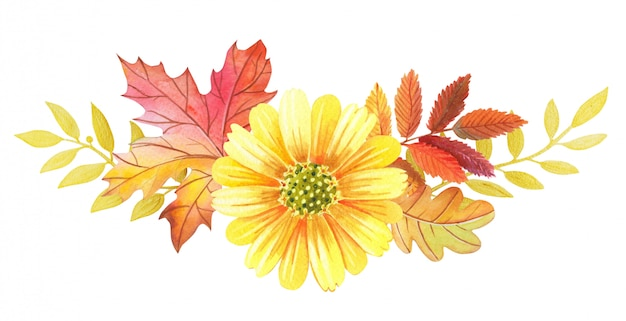 Akwarela kompozycja kwiatowa żółte kwiaty, jesienne liście i gałązki.