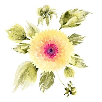 Akwarela kompozycja z ręcznie rysowanymi kwiatami i liśćmi