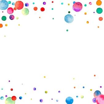 Akwarela konfetti na białym tle. rzeczywiste kropki w kolorze tęczy. szczęśliwy celebracja kwadrat kolorowe jasne karty. fajne ręcznie malowane konfetti.