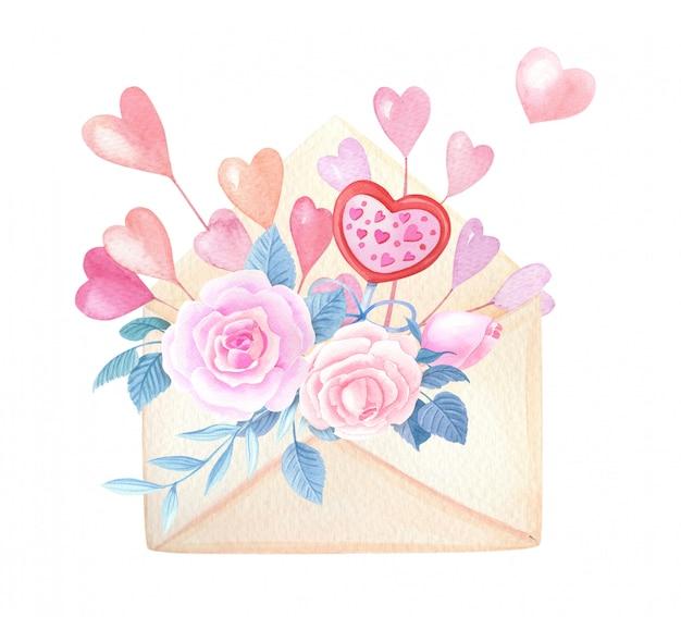 Akwarela koperta z różową różą