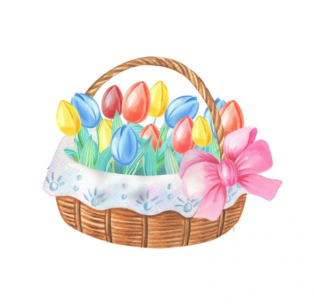 Akwarela kosz z tulipanami i różową kokardką