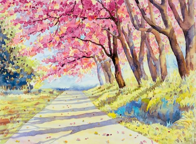 Akwarela krajobraz różowy czerwony kolor dzikiej himalajskiej wiśni