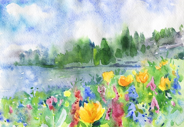 Akwarela krajobraz z kwiatami, jeziorem i lasem.