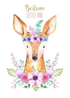 Akwarela kreskówka na białym tle słodkie dziecko jelenia zwierzę z kwiatami