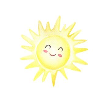 Akwarela kreskówka słońce na białym