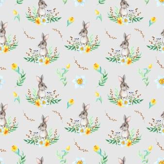 Akwarela króliczek z rysunkiem wzór na szarym tle. koncepcja wielkanocna.