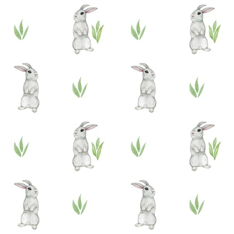 Akwarela królik wzór, ładny króliczek