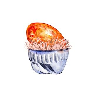 Akwarela kubek z ptasimi jajami. ręcznie rysować ilustracja akwarela. kolekcja wielkanocna.
