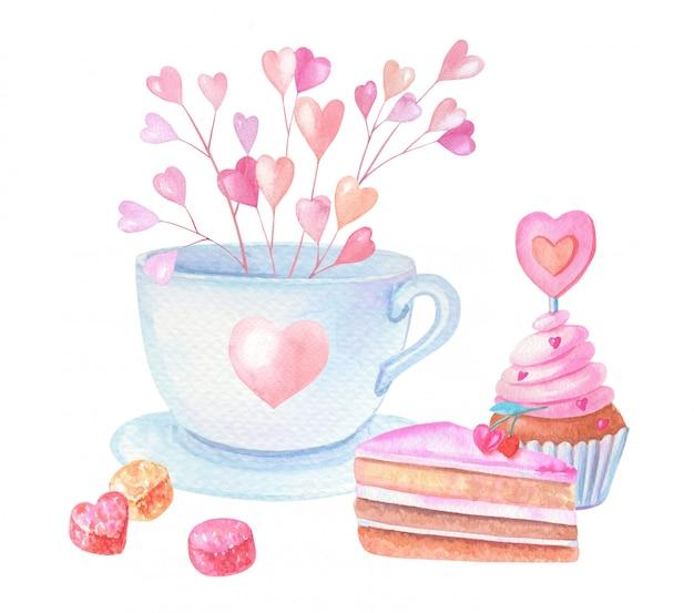 Akwarela kubek z różowymi sercami i ciastami