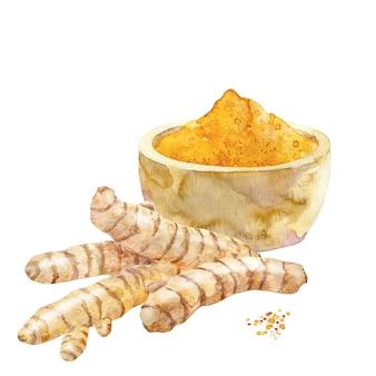 Akwarela kurkuma w proszku w misce i korzenie kurkumy