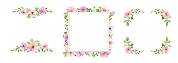 Akwarela kwadratowa ramka z kwiatami i liśćmi.