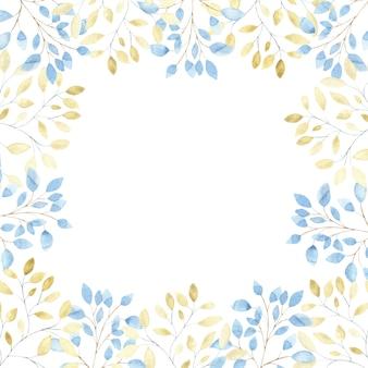 Akwarela kwadratowa ramka z niebieskimi i złotymi gałęziami liści