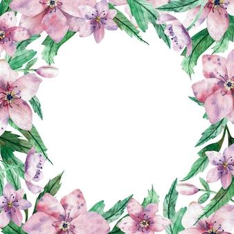 Akwarela kwadratowa różowa kwiecista rama z kwiatami i środkowa biała kopia przestrzeń dla tekstu