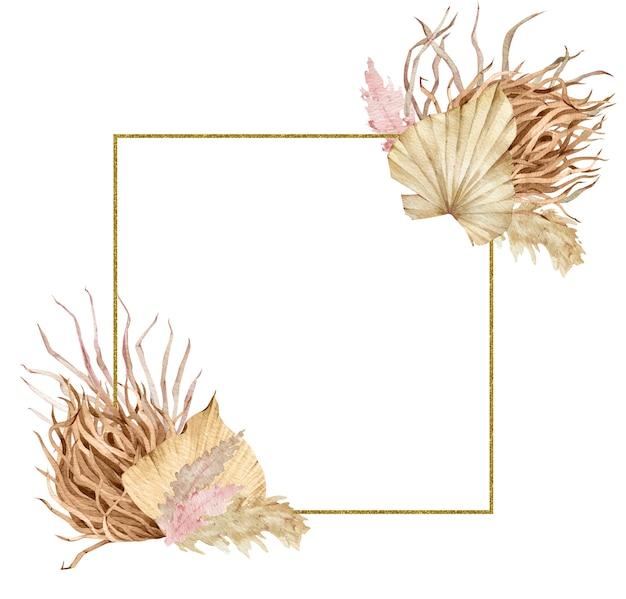 Akwarela kwadratowa złota ramka z tropikalnymi liśćmi i trawą pampasów