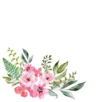 Akwarela kwiat ramki o różnych kształtach. kwiaty, liście i pąki.