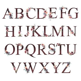 Akwarela kwiatowy alfabet