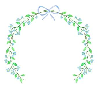 Akwarela kwiatowy rama z niebieskimi kwiatami i wstążką