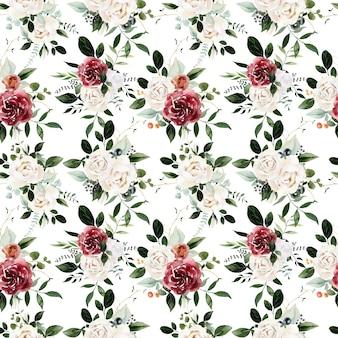 Akwarela kwiatowy wzór czerwonych róż na białym tle