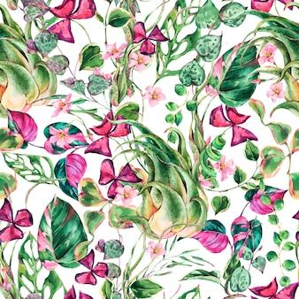 Akwarela kwiatowy wzór tropikalnych liści. tekstura botaniczna lato. rośliny letnie. naturalne egzotyczne kwiaty tapety