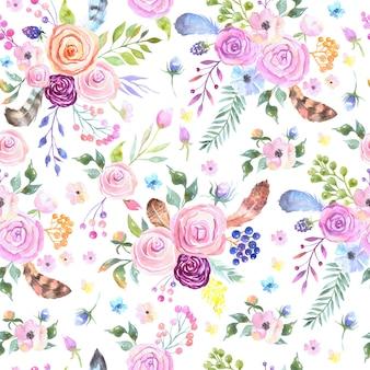 Akwarela kwiatowy wzór z kwiatami i piórami