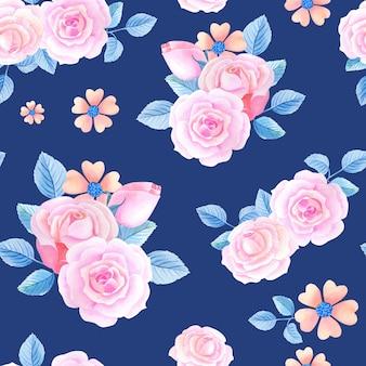 Akwarela kwiatowy wzór z róż