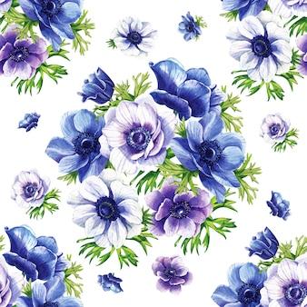 Akwarela kwiaty niebieskie i fioletowe