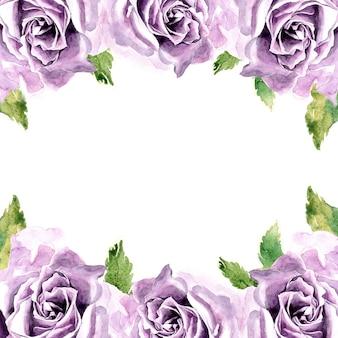 Akwarela kwiaty ramki z ręcznie malowanym fioletowym kwiatem róży