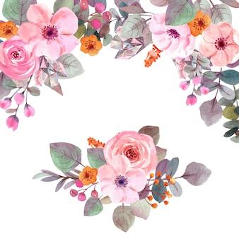 Akwarela kwiaty z miejsca kopiowania
