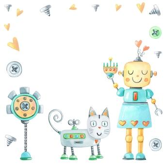Akwarela ładny kot robot i dziewczyna z sercem na białym tle